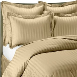 Wamsutta - Wamsutta 500 Damask Duvet Cover Set in Wheat - This incredibly luxurious wheat duvet cover set has a classic damask stripe that reverses to a pinstripe. It will add an elegant look and feel to your bedroom.