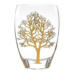 Imported - Tree of Life Design 12 Inch Vase with Genuine Gold Inlayed - Tree of life design vase has genuine Gold Leaf inlayed in the pattern.