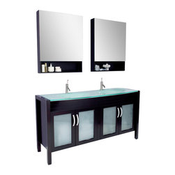 Fresca - Fresca Infinito Modern Bathroom Vanity w/Tempered Glass Double Sink & Countertop - Fluid lines full of flare, this contemporary double sink and vanity is a sexy, stylized upgrade for your bathroom remodel. Make your master bath decidedly adult with an espresso finish glass countertop, chrome hardware and superior craftsmanship.