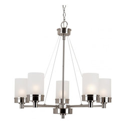 Joshua Marshal - Five Light Brushed Nickel White Frosted Glass Up Chandelier - Five Light Brushed Nickel White Frosted Glass Up Chandelier