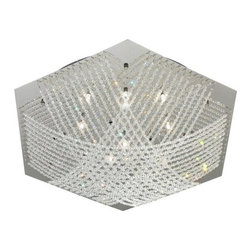 Eglo - Eglo 90112A 16 Light Semi-Flush Ceiling Fixture Lerida Collection - (Bu - Eglo 90112A Lerida 16 Light Semi-Flush Ceiling FixtureThe simple geometric shape of this semi-flush ceiling fixture from the Lerida Collection is complemented by the draped crystalline glass beads that crisscross this elegant light fixture.Eglo 90112A Features: