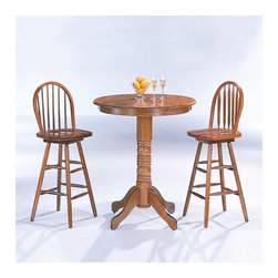 "Wildon Home � - McCoy Bar Table with Arrow Back Bar Stool in Oak - Features: -Includes a table and set comes standard with 2 chairs - 2 set of 1. -Casual style. -Light Natural wood finish and medium Oak finish. -Turned pedestal base, turned tapered legs. -Smooth tops with rounded edges. Specifications: -Bar Table: 42"" H x 36"" W x 36"" D. -Bar Stool: 46.75"" H x 18"" W x 17"" D."