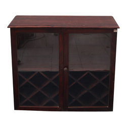 Glass Door Indian Rosewood Wine Cabinet Bar - Fine wine and good friends should both be treated with loving care. Our simple yet elegant Glass Door Wine Bar offers a comfortable place for your friends to gather and a protected place for your fine wine.