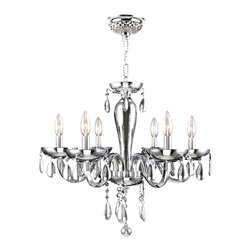 Worldwide Lighting - Worldwide Lighting W83128C22-CH Gatsby 6-Light Hand-blown Glass Chandelier - Worldwide Lighting W83128C22-CH Gatsby 6-Light Hand-blown Glass Chrome Finish with Chrome Crystal Chandelier