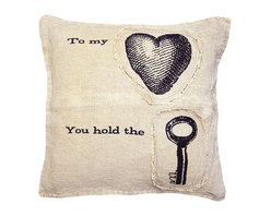 Kathy Kuo Home - To My Heart You Hold The Key Linen Down Throw Pillow - Here's the key to adding soft, sweet style to your sofa. Each pillow is designed by an artist in Georgia then hand-printed on linen. The heart and key patches are added afterward for extra texture and charm.