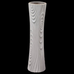 "Benzara - Hour Glass Shaped Ceramic Vase With Ripple Effect Design in Grey (Small) - The Hour Glass Shaped Ceramic Vase With Ripple Effect Design in Grey (Small) will add tone and depth to your interior decor with its contemporary look and feel. Add a fresh new look to your home decor with this sleek and elegant ceramic vase in a contemporary hour glass design. The ceramic vase has a wide mouth and a sleek body perfect with ripple effect design for giving your home a modern look. Use it as a standalone decor item or pair it with flowers and add tone and depth to your interior decor. The ceramic vase sports a lovely grey color perfect for accentuating your home decor. The dimensions of the Hour Glass Shaped Ceramic Vase With Ripple Effect Design in Grey (Small) is 5.5""x18""H. Ceramic; Grey; 5.5""x18""H; Dimensions: 0""L x 6""W x 18""H"