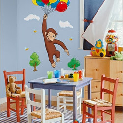 RoomMates - Curious George Peel & Stick Giant Mural - RMK1082GM - Shop for Wall Decorations from Hayneedle.com! This charming image of Curious George ascending through the trees with a bunch of balloons perfectly captures the whimsy of the character and the fun of his stories. Each component is a separate sticker making assembling the image a snap. Should a bubble arise underneath or should someone peel back an element (once applied on a clean surface they don't come off themselves) simply remove and reapply the part in question. If you want to move the image or redecorate the room all you have to do is take down the sticker and either store it or reapply it elsewhere. No residue remains on the wall no matter how long it was up. The sticker remains good for more use as long as the surface is clean dry and flat.These stickers will work on just about any surface but take care with wallpaper or some delicate surfaces. If in doubt test in an inconspicuous place prior to applying all the stickers. Also wait 10 to 15 days after painting before using stickers. Though the paint feels dry it needs adequate time to cure. As with any adhesive product these will work much better on clean surfaces free of dust and the like. Specifically they will work well on surfaces including but not limited to walls mirrors your fridge laptop covers tile glass lockers furniture and automotive surfaces.Please note this product does not ship to Pennsylvania.