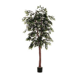 Vickerman 6 ft. Green Smilax Deluxe Silk Tree - Shh...no one will know the Vickerman 6 ft. Green Smilax Deluxe Silk Tree isn't a natural beauty. Perfect for the home or office, this silk smilax tree stands a stately six feet tall and features a natural wood trunk. Lush greenery made of silk lends an authentic look and feel. It comes planted in a black plastic pot. About VickermanThis product is proudly made by Vickerman, a leader in high quality holiday decor. Founded in 1940, the Vickerman Company has established itself as an innovative company dedicated to exceeding the expectations of their customers. With a wide variety of remarkably realistic looking foliage, greenery and beautiful trees, Vickerman is a name you can trust for helping you create beloved holiday memories year after year.