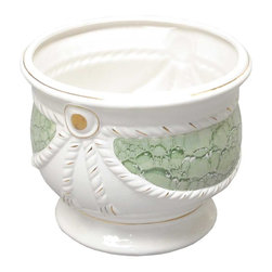 Renovators Supply - Planters White/Green Ceramic Ceramic Vase Planter 9.5 H x 11 Dia - Ceramic Vases make for luxurious decor indoor or out. Use these decorative vases for plants or for other architectural elements in a room, outside patio or balcony. Showcase a favorite plant or bouquet of flowers.