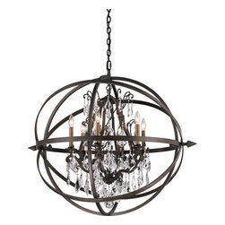 """Troy Lighting - Troy Lighting F2997 Byron 6 Light Globe Chandelier - Troy Lighting F2997 Byron 6 Light 33.375"""" High Multi Light PendantRibbons of hand-worked wrought iron form a protective globe around the crystal accents of this pendant.Troy Lighting F2997 Features:"""