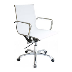 Laura Davidson - Laura Davidson SOHO Mesh Management Chair (White) - Sleek and contemporary, the SOHO Mesh management chair from Laura Davidson adds style to just about any setting while providing the user with a functional and comfortable seating area. The chair's clean, contemporary lines enhance any décor and work well in your home, office, or living room. This timeless chair features a firm nylon mesh seating area. Removable arms enhance the chair's functionality, while its chrome steel tube frame soundly and comfortably provides support as you sit. To accommodate different body sizes and user preferences, the chair benefits from an adjustable height locking tilt mechanism with chrome accents, for a seat height range from 17 to 21 inches high. The chair also swivels 360 degrees for added convenience. For mobility, the chair's cast-aluminum base rests on five chrome-capped wheels. This chair requires minimal assembly (tools included). Covered by a limited one-year warranty, the chair measures 20 inches wide by 20 inches deep with a height of 34 to 37 inches. This item weighs 30 pounds.