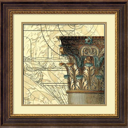 Amanti Art - Vision Studio 'Architectural Inspiration I' Framed Art Print 24 x 24-inch - With Architectural Inspiration I by Vision Studio a column capital header is captured against creamy accents and geometric abstracts, bringing the old and new together in a potent combination.