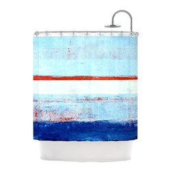 "Kess InHouse - CarolLynn Tice ""Stripes"" Blue White Shower Curtain - Finally waterproof artwork for the bathroom, otherwise known as our limited edition Kess InHouse shower curtain. This shower curtain is so artistic and inventive, you'd better get used to dropping the soap. We're so lucky to have so many wonderful artists that you'll probably want to order more than one and switch them every season. You're sure to impress your guests with your bathroom gallery in addition to your loveable shower singing."