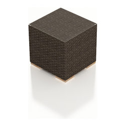 Harmonia Living - Arden Modern Outdoor End Table, Chestnut Wicker - The Arden Outdoor Wicker End Table (SKU HL-ARD-ET-CH) adds a touch of function and practicality to your outdoor patio set. Its beautiful wicker is finished with a weathered Chestnut finish and is made from High-Density Polyethylene (HDPE), which ensures that the wicker will neither fade nor peel in regular sun exposure. A clear tempered glass makes cleaning the top an easy task while its thick-gauged aluminum frame provides a stable, durable foundation for your new end table.