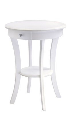 Winsome - Sasha Round Accent Table - White - Elegantly simple end table. Its curved, smooth design blends well with any style of room decor. 20 in. Diameter solid wood top is large enough to hold a lamp floral vase etc. There is a drawer for storage and shelf for display.