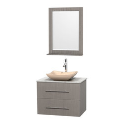 """Wyndham Collection - Centra Bathroom Vanity in Grey Oak,WT  Carrera Top,Avalon IvMa Sink,24"""" Mir - Simplicity and elegance combine in the perfect lines of the Centra vanity by the Wyndham Collection. If cutting-edge contemporary design is your style then the Centra vanity is for you - modern, chic and built to last a lifetime. Available with green glass, pure white man-made stone, ivory marble or white carrera marble counters, with stunning vessel or undermount sink(s) and matching mirror(s). Featuring soft close door hinges, drawer glides, and meticulously finished with brushed chrome hardware. The attention to detail on this beautiful vanity is second to none."""