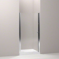 """KOHLER - KOHLER Fluence(R) pivot shower door, 65-1/2"""" H x 33-3/4 - 35-1/4"""" W, with 1/4"""" t - With a frameless, versatile design and Crystal Clear glass, the Fluence pivot shower door adds contemporary style to your shower. The door allows 1-1/2-inch adjustability for out-of-plumb installations and can be installed to open to the left or right to fit the layout of your room."""