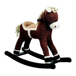 Charm Co. - Dark Brown Rocking Horse - The Dark Brown Horse Rocker by Charm Co is a cuddly riding friend for your kid. It is a cute horse with a beautiful curly mane and tail. The structure is constructed of hand crafted hardwood, while the cute horsey is made out of soft plush.