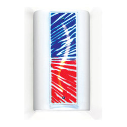A19 - Fourth of July Wall Sconce - A contemporary and exuberant take on a patriotic theme. The bursts of red and blue glass, illuminated by a lively curve carved directly in the ceramic sconce, is reminiscent of fireworks, parade bunting, or waving flags.