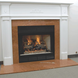 Wood Fireplace Mantel - Some ornamental details and fluted legs give this mantel an attractive look.