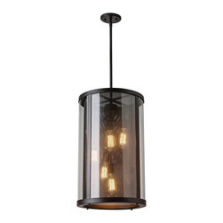 """Feiss - Feiss Bluffton 24 3/4"""" High Bronze Outdoor Hanging Light - Install this chic bronze metal and clear glass outdoor lantern from an exterior ceiling or overhang. This handsome oil rubbed bronze outdoor hanging light is created in the trendy Mountain Luxe style, a modern update to rustic designs. The ribbed-look, cylinder wall fixture hung from a matching cord features five bulbs behind clear glass and a perforated diffuser that represents a classic fireplace screen. Upgrade your decor with this beautiful Feiss lighting accent."""