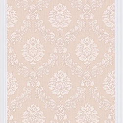 Graham and Brown - Costello Wallpaper Swatch - Beige/Cream - Costello is an in-register small scale damask wallpaper with a jacquard stitch effect into the Harvey plain background.