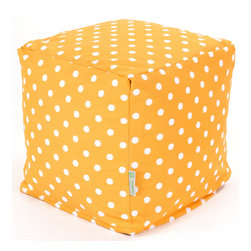 Majestic Home - Outdoor Citrus Ikat Dot Small Cube - Versatile, casual and fun, beanbag ottoman cubes are great to have around the house for all kinds of impromptu uses, from footstools to extra seating to side tables. With it's cute modern polka dot print and durable, washable cover, this comfy cube should work for you just about anywhere you need it, indoors or out. You'll wonder what you ever did without it.