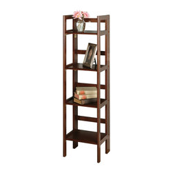 Winsome Wood - Winsome Wood 4-Tier Folding Shelf with Antique Walnut Finish X-25849 - This folding shelf comes in three different finishes to match any space.  Use it in the bathroom for your towels, in the kids room for their stuff toys or in an office for books or files.  Made of Solid beechwood.