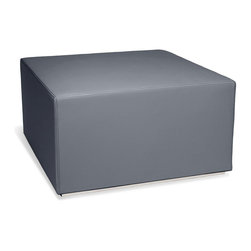 "Blu Dot - ""Blu Dot Blockoid Ottoman, Slate"" - ""Is it an ottoman? Is it an end table? No, it's Blockoid: the super-geometric, super-adaptable and super-comfortable sidekick to Couchoid. Also available in dark brown, white or slate leather alternative and ocean upholstery with a chrome base. """