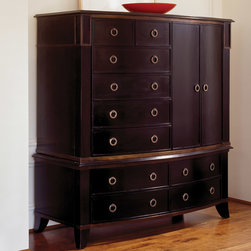 """Brownstone - Brownstone Metropolitan Gentlemans Chest - Innovative and timeless, Brownstone artfully blends yesterday's influence with of-the-moment designs. The transitional two-piece Metropolitan Gentleman's chest boasts warm and classic style for the modern bedroom. Rich in a grained espresso finish, the ample storage furnishing features ten drawers and two doors that open to reveal three shelves. Round brass hardware, exposed legs and subtle gold crackle along the molding complete the stunning and large mindi wood piece with sophisticated complements. Drawers operate on wood drawer slides. 57.5""""W x 26.5""""D x 61.25""""H."""