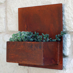 Steel Wall Planter with Patina - Living art. This modern wall planter adds flair and style to vertical gardening, indoors and out. Hang several on a wall for dramatic impact, or let it stand alone. Looks particularly great with succulents!
