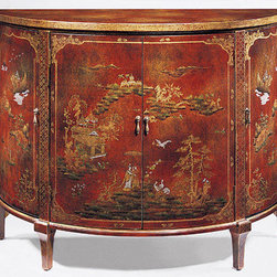 "Inviting Home - Demilune Chinoiserie Cabinet - Hand-painted demilune cabinet with Chinoiserie design on an antiqued crackled red background four curved doors one shelf inside and antiqued brass hardware; 48""W x 20""D x 36-1/4""H Hand-crafted Chinoiserie demilune cabinet. Demilune cabinet is hand-painted Chinoiserie design on an antiqued crackled red background. Hand painted cabinet has four curved doors with antiqued brass hardware and one shelf inside."