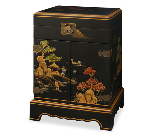 China Furniture and Arts - 18in Chinoiserie Jewelry Chest - In China the jewelry chest is one of the most important decorative objects on a woman's dresser. Handcrafted with gold Chinoiserie in traditional Chinese scenery, this beautiful wooden jewelry chest has a mirrored lift-top and two felt-lined ring trays. Open the double-doors, four spacious felt-lined drawers are revealed. The brass hardware fittingly matches the gold Chinoiserie. A perfect gift for every woman.