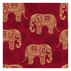 WallsNeedLove - Removable Wallpaper - Paisley Elephants - This removable wallpaper turns your wall into a tapestry featuring some of the most majestic animals on Earth. Adding removable wallpaper to your space is much simpler than painting.