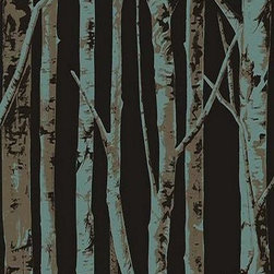 Seabrook Wallcoverings - Black Birch Tree Wallpaper - Black birch tree wallpaper design. Half-drop + Vinyl Coated. EH61003