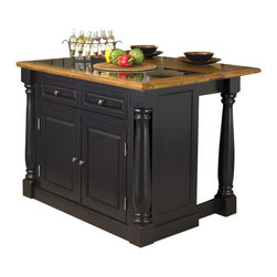 """Home Styles - Home Styles Monarch Roll-out Leg Kitchen Island Set in Black and Oak - Home Styles - Kitchen Carts - 5009948 - The Home Styles Monarch kitchen island and bar stools are constructed of solid and engineered hardwoods in a multi - step finish. The Monarch kitchen Island features a rich multi - step black finish with a distressed oak veneer profiled top for an aged look with a granite insert. Features include a turned sliding column post to maximize space doors that open to storage with two adjustable shelves behind each door and two utility drawers for added storage. Size: 46""""w 25""""d 36""""h (with leg extension size is 46""""w 40.5""""d 36""""h). The bar stools features a slight arc diamond pattern of the back to the tapered legs and black leather seat and 360 degree swivel. The seat height measures 24"""" and arm height measures 31.75"""" from the floor."""