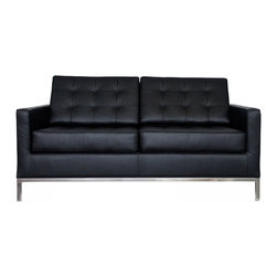 """Serenity Living Stores - Florence Knoll Style Loveseat - Italian Leather, Black - Florence Knoll, an acclaimed architect and designer, first conceived this beautiful chair in 1956. Knoll's philosophy for furniture design comes from the value that she placed on practicality and aesthetic beauty. The pieces resulting from her philosophical vision are considered to be minimalistically beautiful without compromising on durability and comfort. Knoll was also known to study and collaborate with renowned architect and designer Mies Van Der Rohe, this collaboration also lended a hand in her highly sought after artistic vision. The classic trio was designed by Knoll using a durable stainless steel frame with minimal materials. The chair features beautiful cubic cushions complimented with compressed buttons in a functional layout which provides both style and comfort to the thin, minimalist supporting arms. The Knoll Sofa, Loveseat, and Chair are becoming more and more highly desired as their minimal yet practical design can adapt perfectly into today's modern home or space.                                                                                                                                                                                                                              Overall Dimensions: 31.5"""" H x 63"""" W x 32.3"""" D"""
