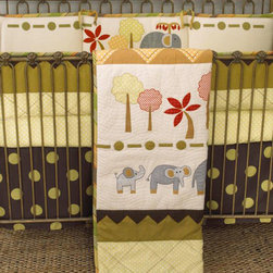 Cotton Tale Designs - Elephant Brigade 4 Pc Crib Bedding Set - A quality baby bedding set is essential in making your nursery warm and inviting. All Cotton Tale patterns are made using quality materials and are uniquely designed to create your perfect nursery. The Elephant Brigade collection is a unique pattern with bright colored forest and a family of elephants. Contemporary yet whimsical, the brigade crossing a landscape of beautiful greens, neutrals and red. The coverlet is quilted on natural percale with rich warm colors of the mountains and landscape at bottom and top. The quilt could easily be a piece of fun folk art adorning your nursery wall. The green dot sheet is 100% cotton, 300 thread count. The bed skirt is giant dot printed canvas. The four sectional bumper is embroidered with the trees and elephants. The bumper is trimmed in the yarn dyed stripe with large cord and ties. This pattern is wonderful for both boy and girl. Elephant Brigade is a baby bedding for the discriminating parent who appreciates original design. Wash gentle cycle, separate, cold water. Tumble dry low or hang dry.; Weight: 7 lbs