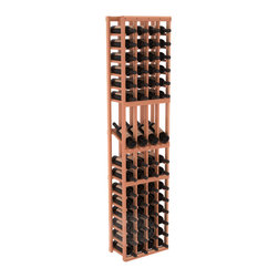 4 Column Display Row Wine Cellar Kit in Redwood with Satin Finish - Make your best vintage the focal point of your wine cellar. Four of your best bottles are presented at 30° angles on a high-reveal display. Our wine cellar kits are constructed to industry-leading standards. You'll be satisfied with the quality. We guarantee it.