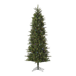 "Vickerman - Carolina Pencil Spruce 450Mu LED (7.5' x 38"") - 7.5' x 38"" Carolina Pencil Spruce, 1043 tips, UL 450 LED Multi Italian Mini Light, on/off switch step, in Bmv base, 19%PE, 81%PVC, 0.07+0.07+0.11 Thickness Utilizes energy-effiecent, durable LED technology."