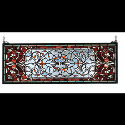 Meyda - 10 Inch H x 28 Inch W Versaille Transom Windows - Color theme: Blue burgundy lalt amber