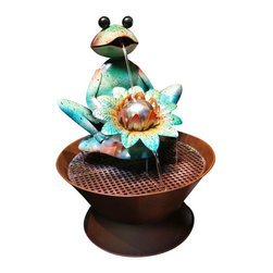 Alpine - Frog Metal Fountain - Features:Dimensions: