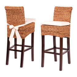 Four Hands - Banana Leaf Counterstool With Cushion, Natural - Bring the outdoors in for a tantalizing taste of the tropics! Woven with banana leaves, this stool has a solid mango wood frame and comes topped with a cream cotton cushion for relaxed seating. It's the perfect perch for piña coladas at the bar or Sunday brunch at the kitchen counter.