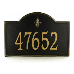 """Ballard Designs - Ballard Fleur-de-lis One Line Standard Address Wall Sign - For One Line, Specify up to five 4"""" numbers. For Two Lines, Specify up to five 3"""" numbers for top line, up to sixteen 1 1/4"""" characters for bottom line. *Please note that personalized items are non-returnable and non-cancelable."""