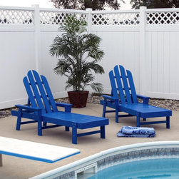 POLYWOOD - POLYWOOD Recycled Plastic Long Island Chaise Lounge - ECC76SR - Shop for Chaise Lounges from Hayneedle.com! You'll love relaxing with this recycled plastic chaise lounge. Durable and maintenance-free this chaise eliminates the hassle of staining or painting. Its adjustable Adirondack-style backrest and wide armrests will provide the ultimate in comfort season after season. Select from many new colors to create a festive patio setting. About PolyWoodThe advantages of PolyWood Recycled Plastic are hard to ignore. PolyWood absorbs no moisture and will NOT rot warp crack splinter or support bacterial growth. PolyWood is also compounded with permanent UV-stabilized colors which eliminates the need for painting staining waterproofing stripping and resurfacing. This material is impervious to many substances including salt water gasoline paint stains and mineral spirits. In addition every PolyWood product comes with stainless steel hardware. PolyWood is extremely easy to clean and maintain. Simple soap and water is all you need to get rid of dirt and make your furniture look new again. For extreme cleaning needs you can use a 1/3 bleach and water solution. Most PolyWood furnishings are available in a variety of classic colors which allow you to choose your favorite or coordinate with the furniture you already have. This is sure to be a piece that you will be proud to own for a lifetime.