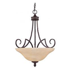 Joshua Marshal - Three Light Antique Copper Up Pendant - Three Light Antique Copper Up Pendant