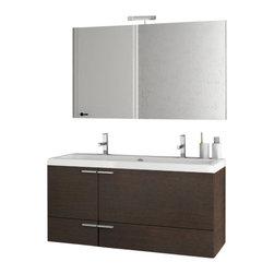 ACF - 47 Inch Wenge Bathroom Vanity Set - Set Includes: Vanity Cabinet (2 Doors,2 Drawers), high-end fitted ceramic sink, wall mounted vanity mirror.