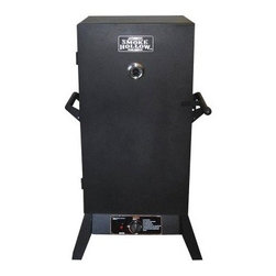 Smoke Hollow 38 in. Propane Smoker - The Smoke Hollow 38-inch Propane Wood Smoker knows meat! This superior steel smoker has an output of 15 000 BTUs in a cabinet that with a capacity of 3.4 cubic feet. Two door design allows user to add water and wood chips without letting heat escape. There's a cast brass burner here with four adjustable chrome cooking grids. Do you like smoked sausages? There's a hanger for that. There's also a push-button ignition system so lighting a fire won't stress you out. The smoker measures 27W x 18.5D x 47H inches and includes porcelain-coated water and wood chip pans. About Outdoor Leisure Products IncBased out of Neosho Missouri this American company is dedicated to designing manufacturing and marketing products of superior quality at an affordable price. Their smokers wagons and accessories are sure to infuse your brisket chicken rack of ribs or any other dish with a flavor like no other. And it's all thanks to Outdoor Leisure Products Inc's attention to detail. So whether you're a retailer or a customer looking for a great backyard barbeque the name Outdoor Leisure Products is one you can depend on.