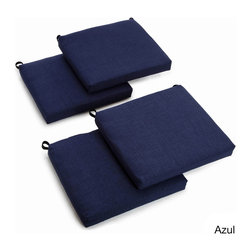 Blazing Needles - Blazing Needles All-weather UV-resistant Outdoor Chair Cushions (Set of 4) - Dress up your patio furniture with these vibrant outside chair cushions. The UV-resistant fabric stands up to the harshest of the sun's rays,and the cushions are available in a variety of colors.