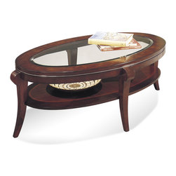 Bassett Mirror - Ashland Heights Oval Cocktail Table - Inset Glass - Black Cherry Finish with Olive Ash Veneer Tops, Cherry Veneer Aprons and Shelves, Hardwood Saber Legs and Chrome Accents. Measures: 54 in. W x 34 in. D x 19 in. H. Part of the Ashland Heights Collection.